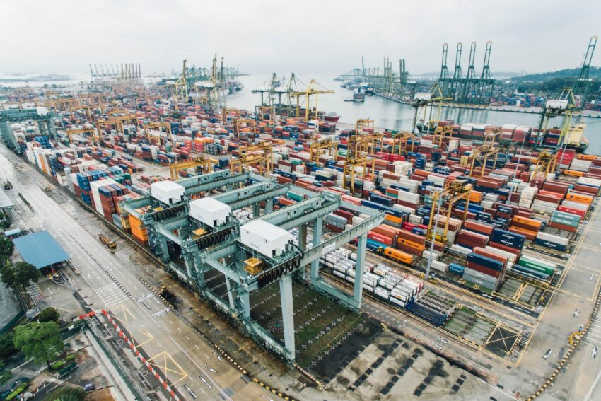 intermodal containers on dock